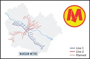 Warsaw Metro Map Postcard