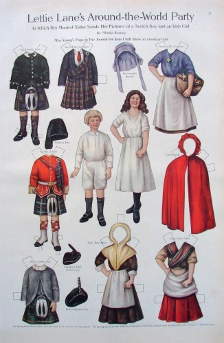 Paper Dolls in a Scottish & Irish Outfit Postcard