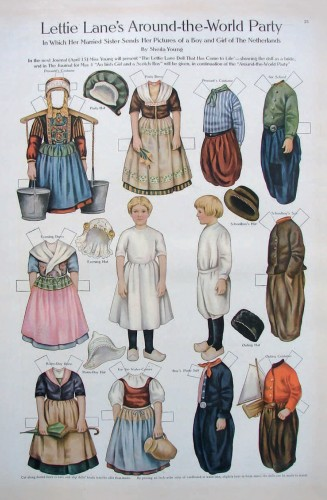 Paper Dolls in a Dutch Outfit Postcard
