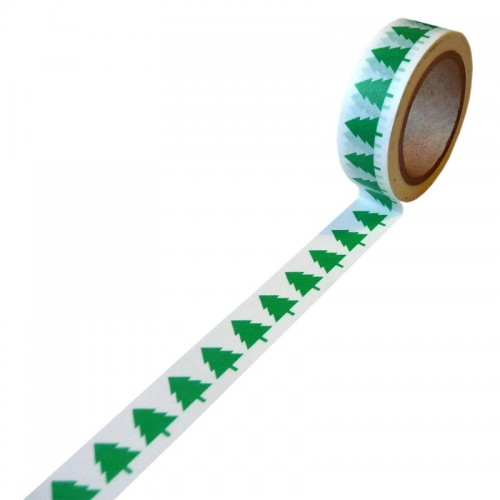 Paper deco tape - Green Christmas Trees