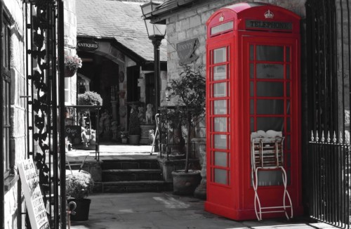 English Red Phone Booth Postcard